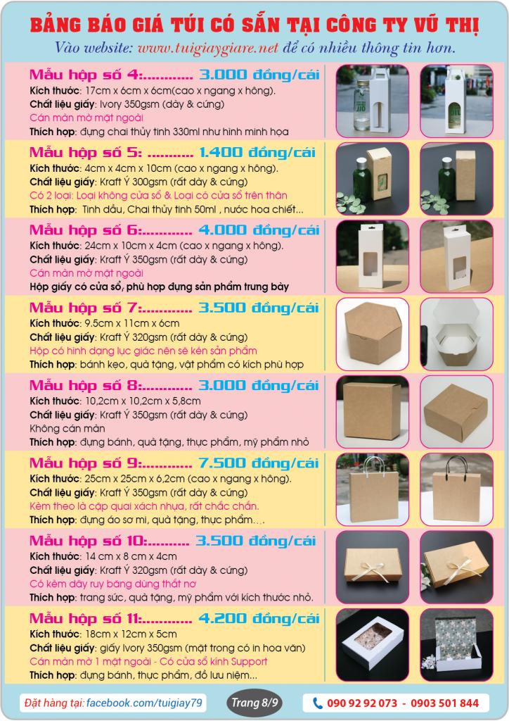 Báo giá túi giấy & Hộp giấy