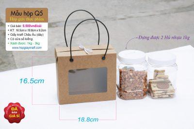 Hộp giấy thực phẩm - đựng khô heo, khô gà mực, hạt điều, đậu phộng, 2 hủ nhựa 800ml hoặc 1kg