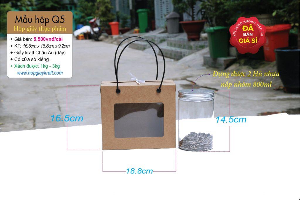 Hộp đựng được 2 hủ nhựa như hình 800ml hoặc 1 kg